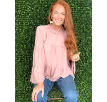 Rose Solid Tier Boho Top