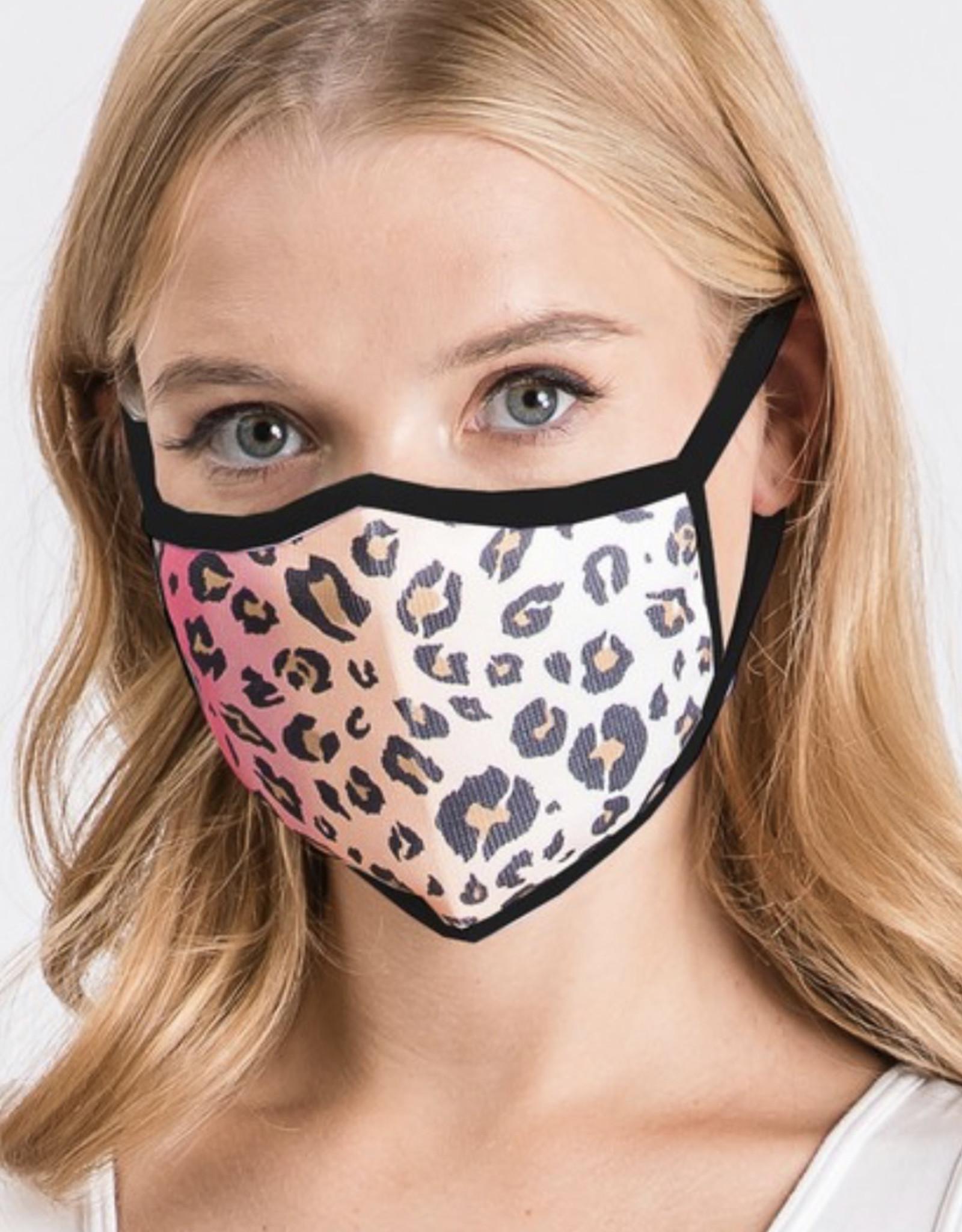 Fashion District Black Tie Dye Animal Print Face MAsk