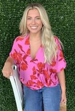 Karlie Pink Floral Signature Vneck top