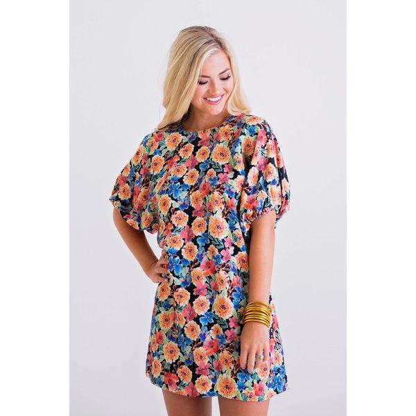 Multi Floral Puff Sleeve Dress