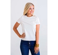 Ivory Solid Knit crew Tee