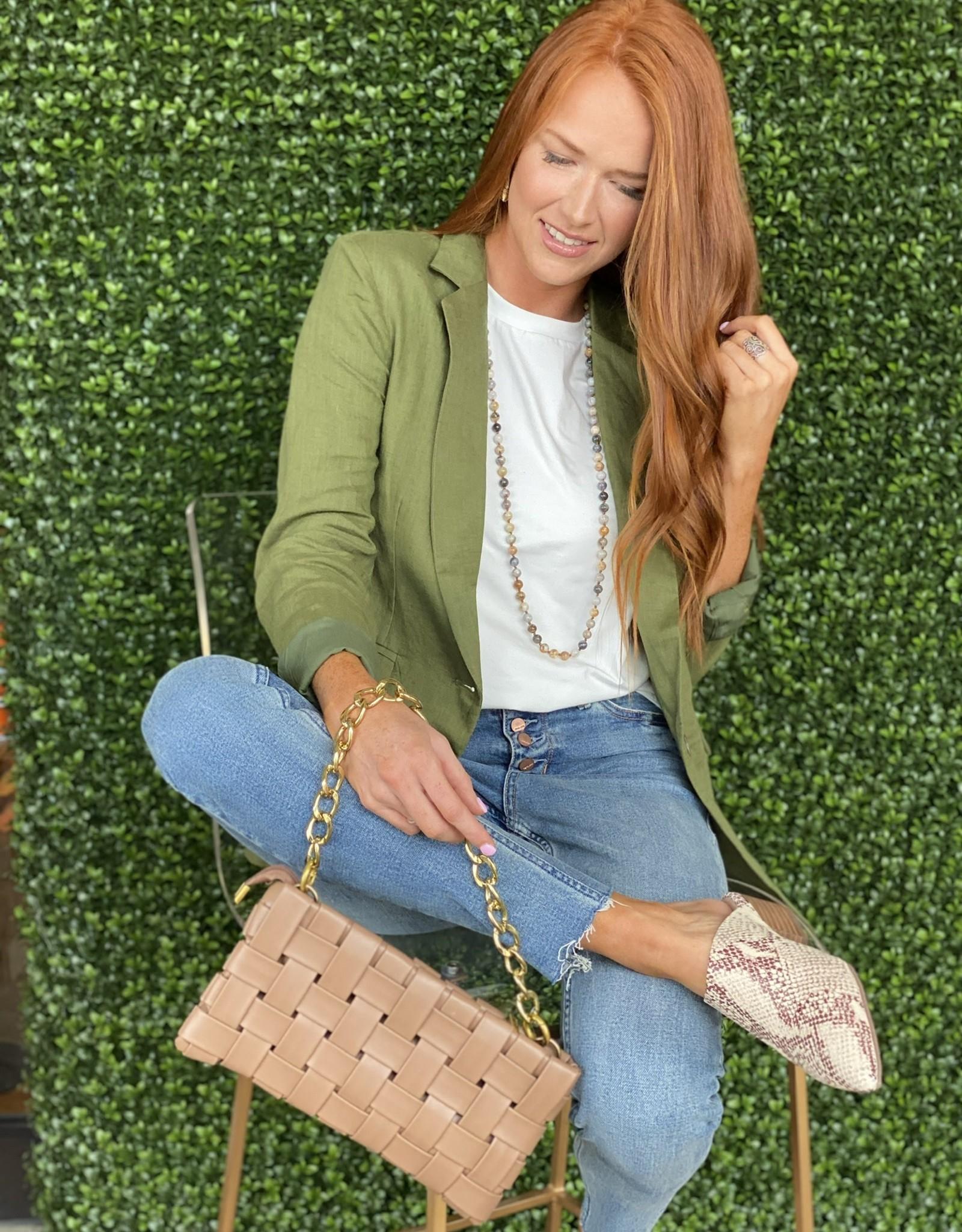 Karlie Olive Solid Linen Blazer