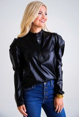 Karlie BLACK PLEATHER PUFF SLEEVE TOP