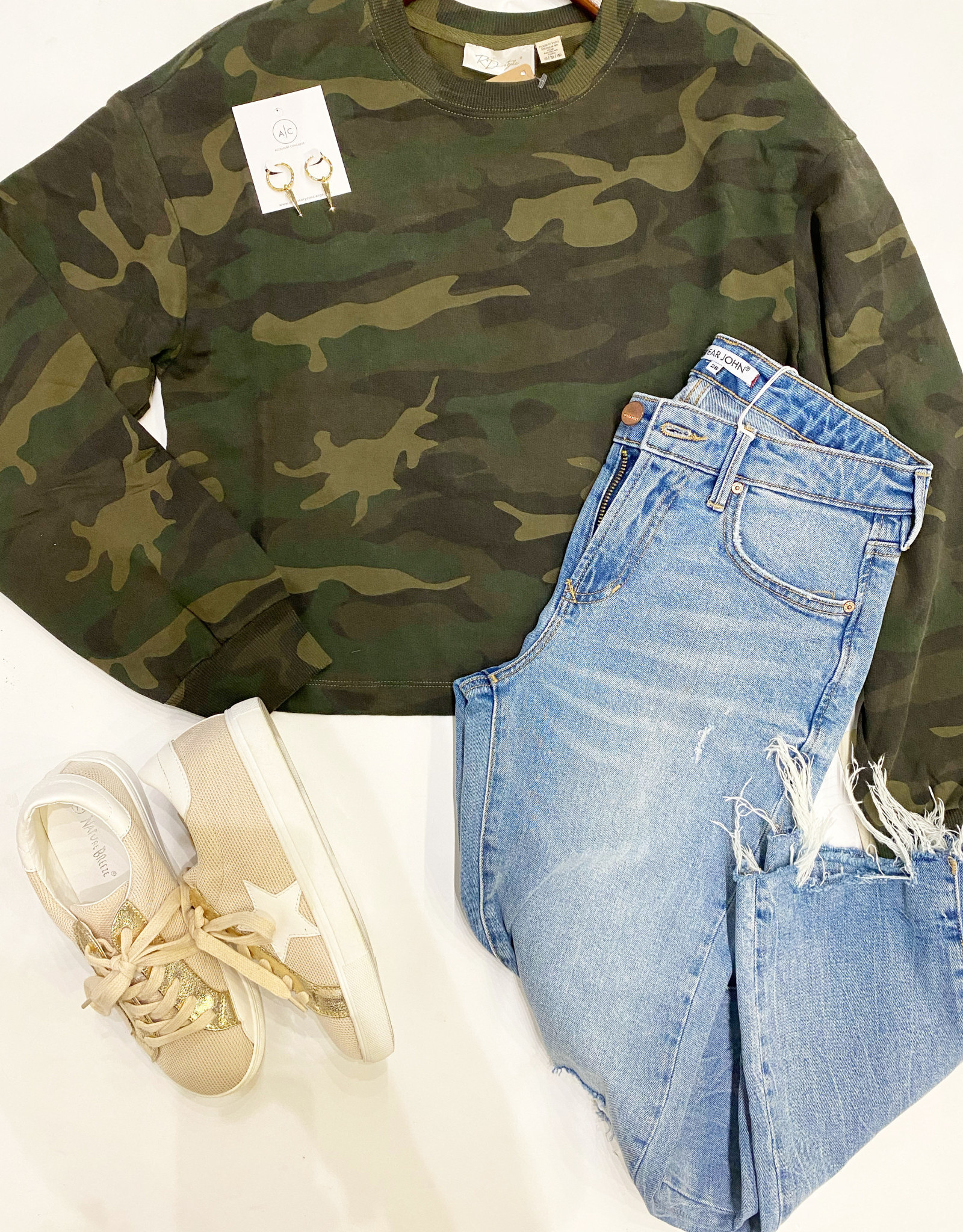 RD Style Camo Green KNit Pullover