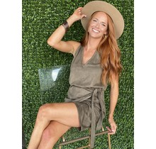 Military Green Suede Wrap Dress