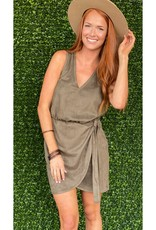 Astars Military Green Suede Wrap Dress