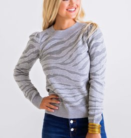Karlie Grey Tiger Puff Slv Sweater