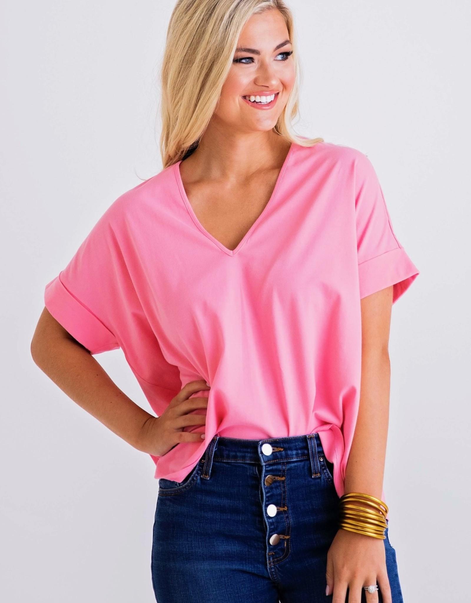 Karlie Pink Solid KNit VNeck Top
