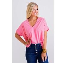 Pink Solid KNit VNeck Top