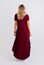 Karlie Burgundy Vneck Knit Pocket Dress