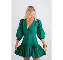 Green Solid Wrap Puff Sleeve Dress