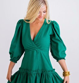 Karlie Green Solid Wrap Puff Sleeve Dress