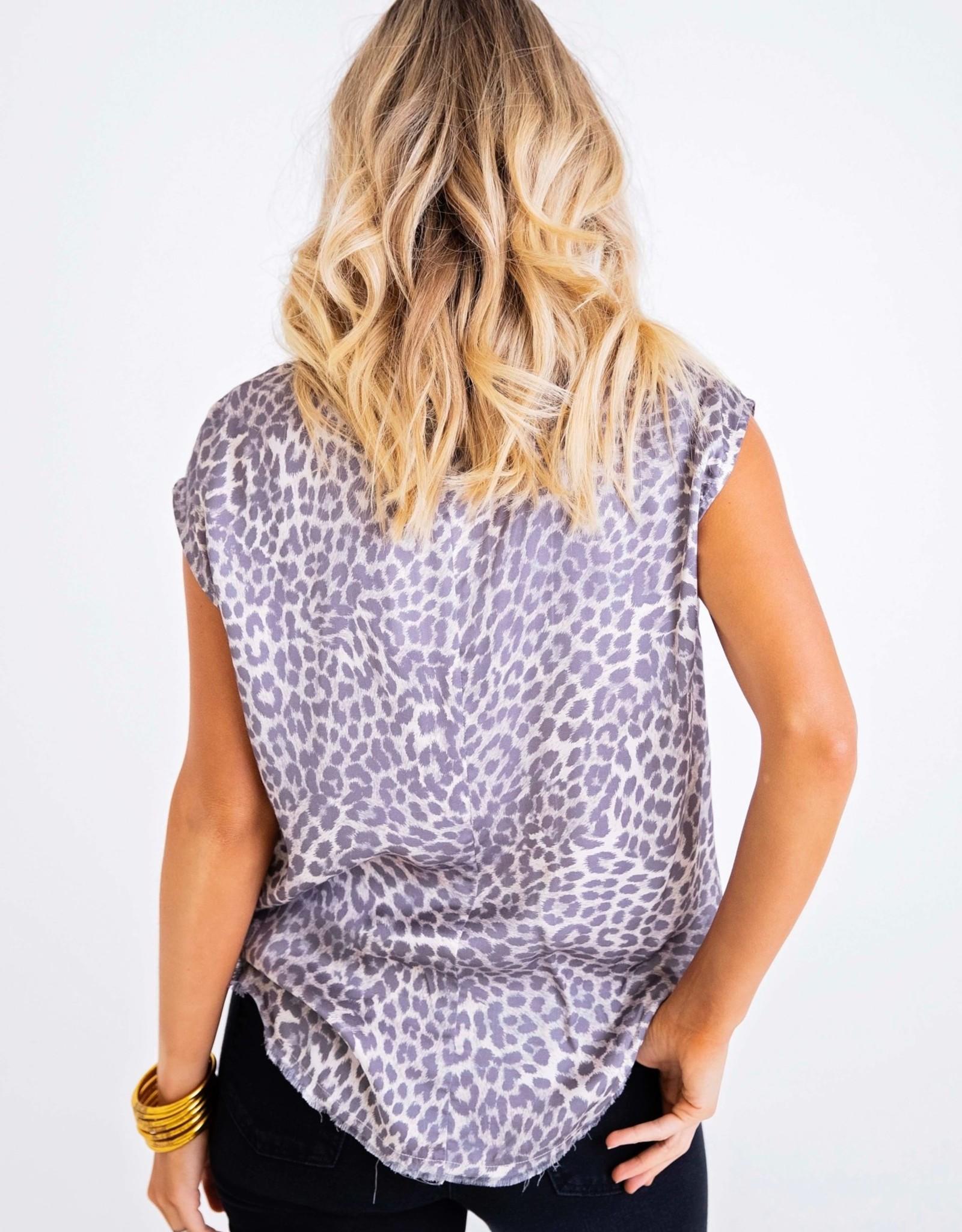 Karlie Grey Leopard Scoop Neck Top