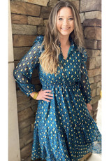 Joy Joy Teal Cheetah Tiered Midi Dress