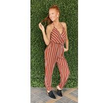 Rust Stripe Wrap Jumpsuit