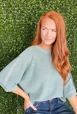 Joy Joy Celadon Button Slv Sweater