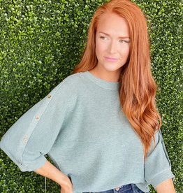 Joy Joy Celadon Button Slv Sweater