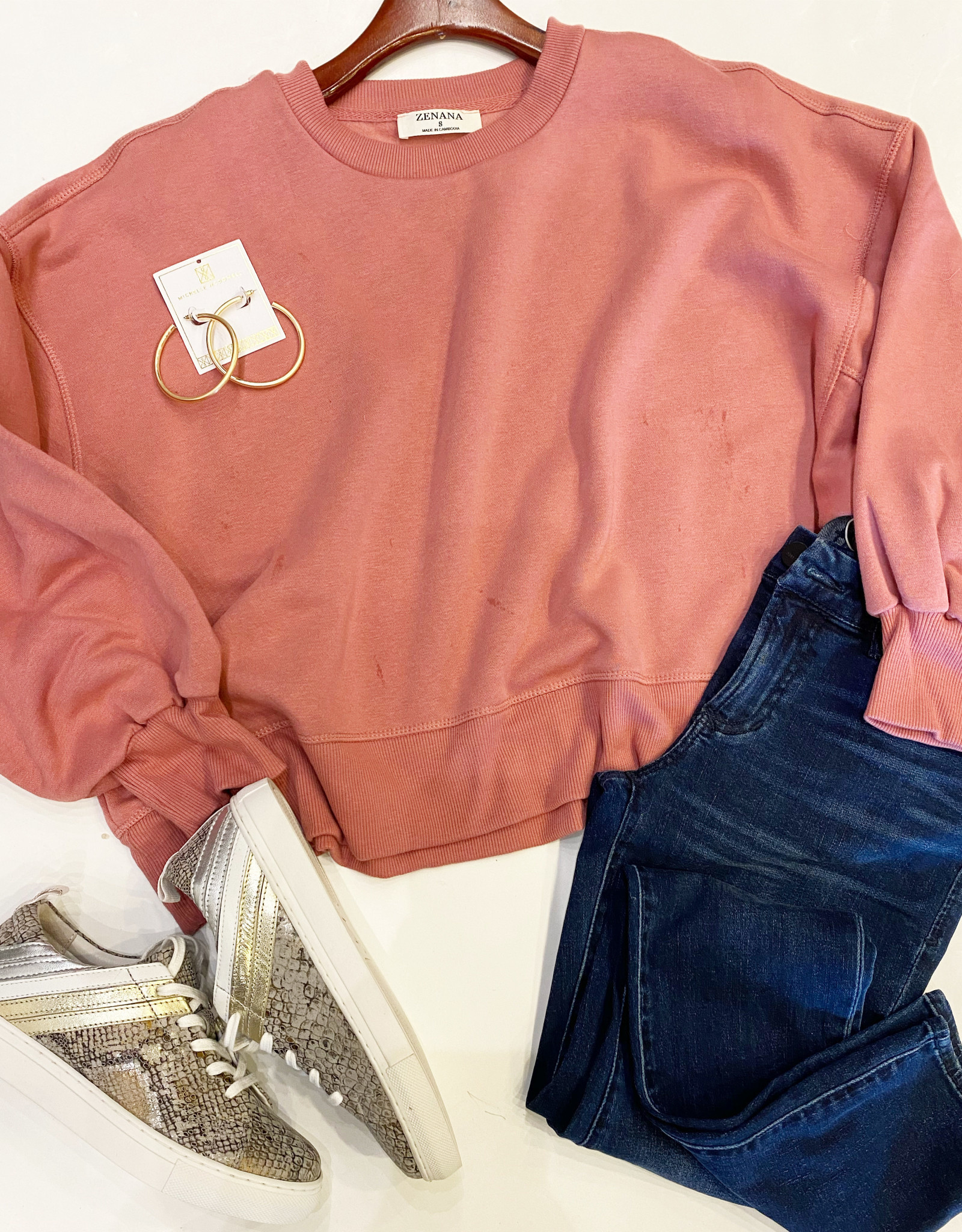 Zenana Cropped Pullover