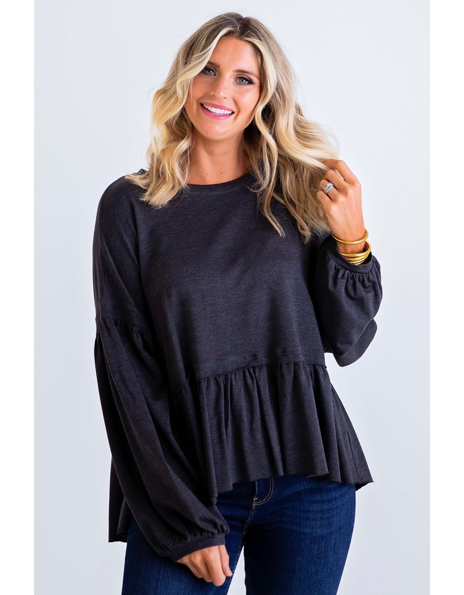 Karlie Charcoal Solid Ruffle KNit Oversized Top