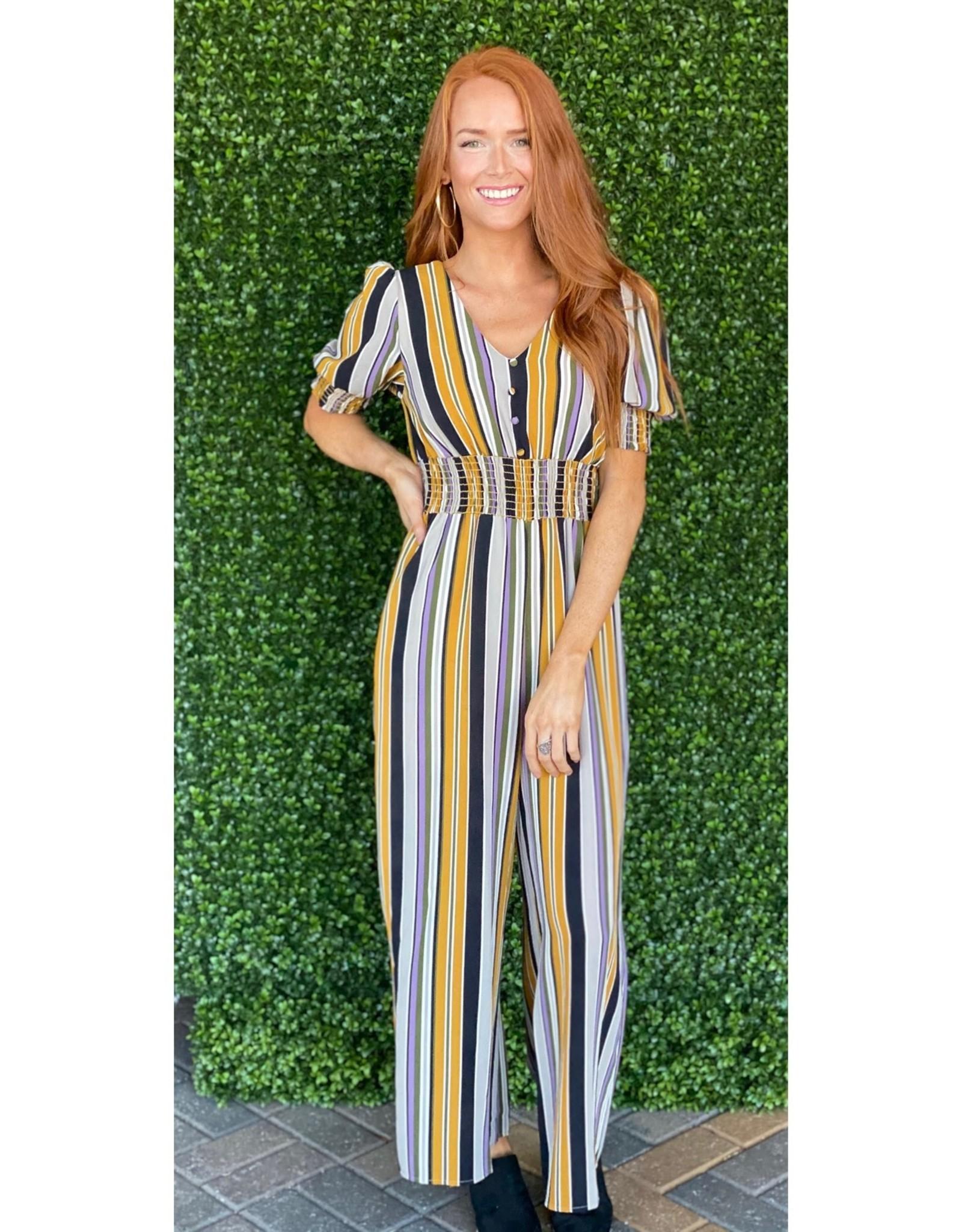 Karlie Mustard Stripe Jumpsuit