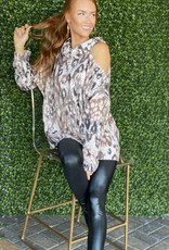 Project Social T Brown Animal One Cold Shoulder Top