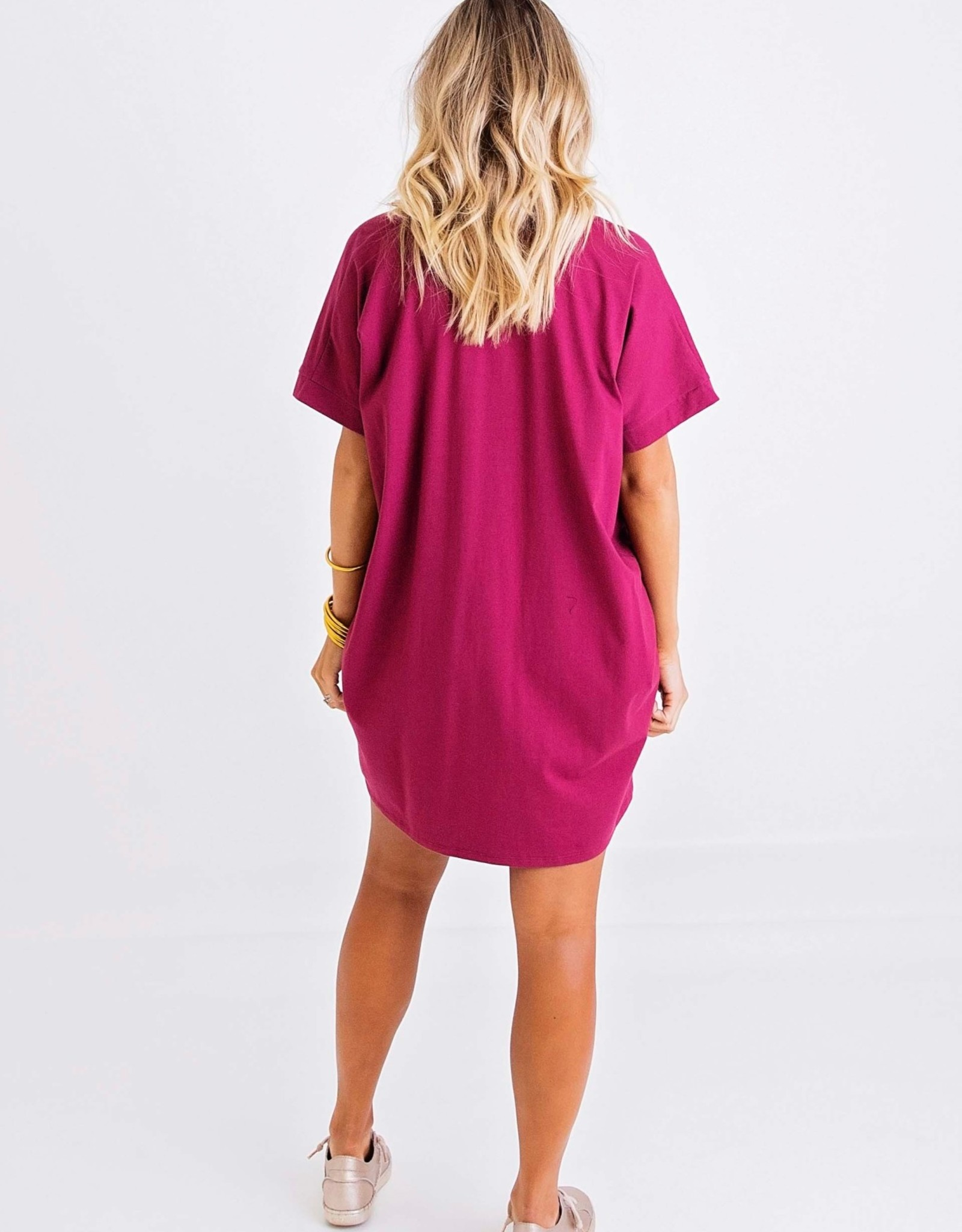 Karlie Burgundy Solid Knit Vneck Dress