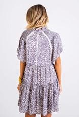 Karlie Leopard Smock Shoulder Tier Dress