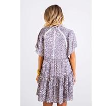 Leopard Smock Shoulder Tier Dress