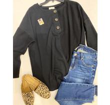 Black Button Sweatshirt