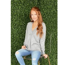 Grey Mel Vneck Sweater