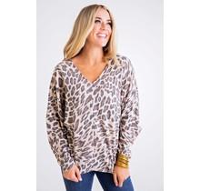 Taupe Leopard VNeck Longsleeve Top