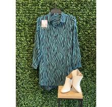 Teal Zebra Side Button Long Blouse
