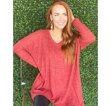 Vneck Sweater Tunic- Marsala