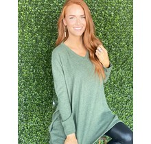 Vneck Sweater Tunic- Olive
