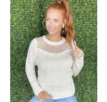 Cream Lace Trimmed Sweater