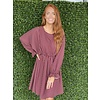 Burgundy Plaid Long Sleeve Dress
