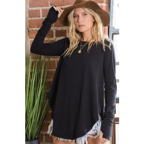 Black round hem tunic top