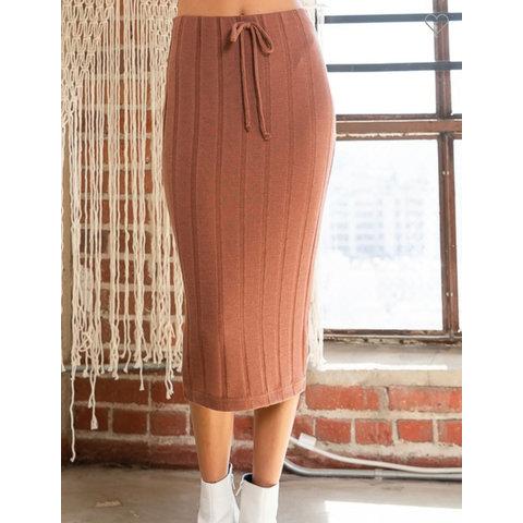 Brown ribbed midi skirt