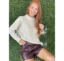 Burgundy Solid PLeather Short
