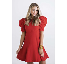 Red Solid Puff Sleeve Dress