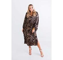 !Leopard Satin Vneck Midi Dress