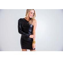 Black Pleather One shoulder dress