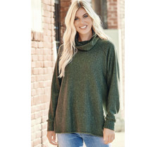 Olive Ribbed Sweater w/ cowl neck