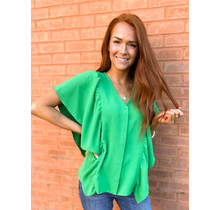 Green Side Ruffles Top