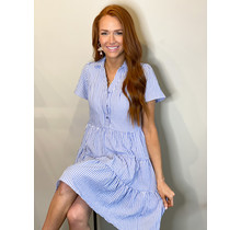 White Stripe Button Trim Tier Dress
