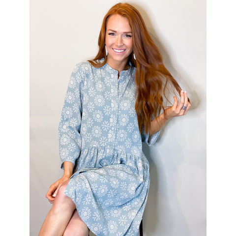 Blue print flare Shirt dress
