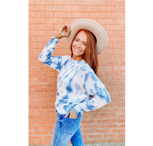 Blue Tie Dye Crew Neck Sweater