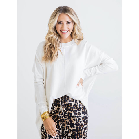 White Solid Novelty Sweater