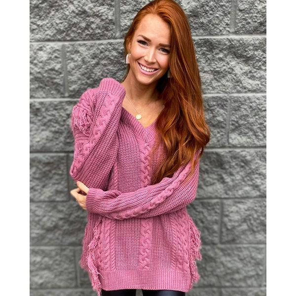 Lavender Fringe Knit Sweater