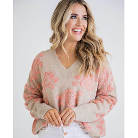 Floral VNeck Vintage Sweater